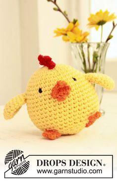 "Pollito de Pascua DROPS, en ganchillo / crochet, en ""Paris"". ~ DROPS Design"