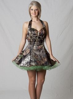short camo dress that ties in the back. id so wear this to prom so cute!!!