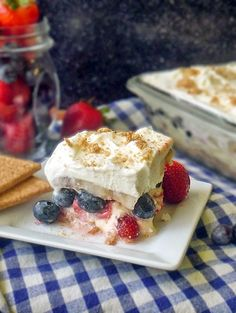 Patriotic No Bake Cake | by Life Tastes Good is perfect for all your summer gatherings! #FWCon #Dessert #SafeEggs