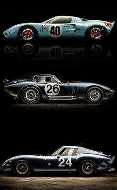 Legends: Ford GT40, Shelby Daytona Coupe, Ferrari 250 GTO.