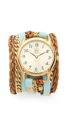 Sara Designs Flat Leather & Chain Wrap Watch