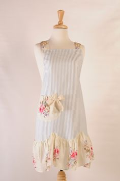 Special Treats by Carolyn - Adult Striped Spring Posy Apron, $29.95 (http://www.specialtreatsbycarolyn.com/adult-striped-spring-posy-apron/)