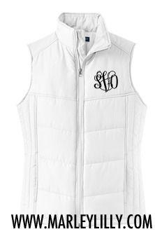 Monogrammed White Puffy Vest
