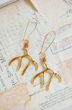 Gold DEER Antler Earrings Woodland