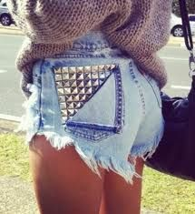 High-waisted cut-off jean shorts with a brazilian cut on the sides. Why are these SO hard to find!??