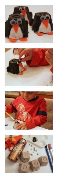 Egg Carton Penguins: Turn an egg carton into a cute winter craft