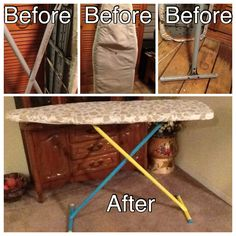Took a ironing board I found at a yard sell and updated.  Looks great sitting in my sewing room.