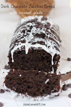 Dark Chocolate Zucchini Bread with Coconut Glaze | carmel moments