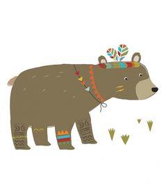 Brave Bear Illustration Print // for Nursery or Kid's room