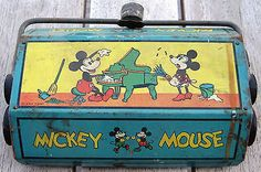 1930s Mickey Mouse Ohio Art Sweeper Vacuum Toy Metal Lithograph Disney Minnie