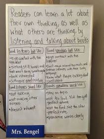 Great anchor chart and blog post for teaching Speaking and listening skills with a book talk!