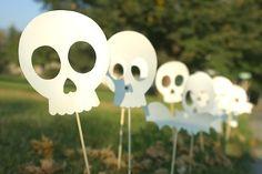 Paper Sidewalk Skulls for Halloween.
