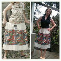 refashion skirt, skirt refashion, tribal skirt