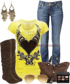 """Printed Tee & Bohemian Earrings"" by casuality on Polyvore"