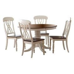 5 Piece Countryside Round Table Set - Antique White : Target Mobile