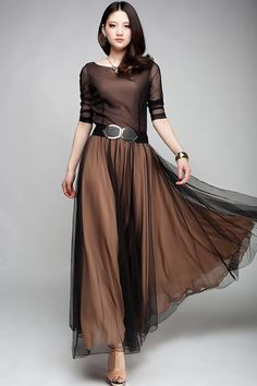 Elegant Vintage Chiffon Dress skirt, vintag chiffon, maxi dresses, cloth, style, dress fashion, gown, chiffon dresses, vintage inspired