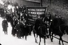 Morton's women workers leaving on their march to Trafalgar Square. 1914