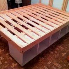 decor, diy bedframe, bed diy frame, idea, bed frames, beds, kid bedroom, diy bed frame with storage, diy storage bed frame