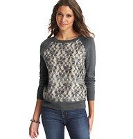 Shimmery Lace Front Sweater - The new way to do sweet: a sweatshirt-inspired style gets dolled up with pretty lace overlay – and finished with a subtle pop of shimmer. Ballet neck. Long raglan sleeves. Solid back. Ribbed neckline, cuffs and hem.