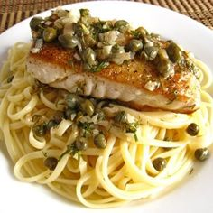Perfect for Easter Dinner. Halibut With Lemon, Butter, Caper And Dill Sauce