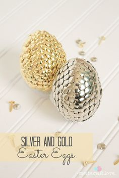 Silver and Gold Easter Eggs from thumbtacks and fasteners!  via createcraftlove.com for @Matty Chuah 36th Avenue .com #easter #eastereggs #gold #silver