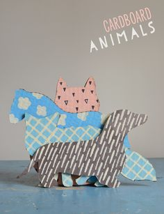DIY cardboard animals ~ recycled art from boxes ~ free templates | small for big free templates, art kid, templates free, cardboard box art, diy cardboard, cardboard diy, colorful animals, children craft, kids design