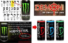 Satanic energy drinks the shocking symbols of monster for Cocktail 666