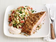 Grilled Pork Steaks With Zucchini Couscous from #FNMag #myplate #protein #grains #veggies