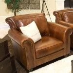 Elements Fine Home Furnishings - Paladia Top Grain Leather Accent Chair in Rustic - EQL1066