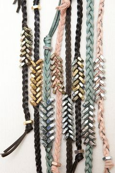 "hexnut bracelets... i could do this with ribbon, or hemp cord, or ""leather"" straps."