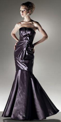 Strapless A-line trumpet taffeta floor-length gown