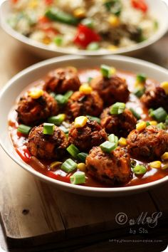 Veg Manchurian ~ an Indo-Chinese dish of deep fried vegetable balls and sweet and sour sauce/gravy
