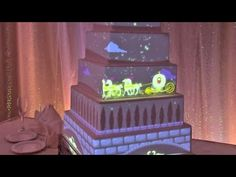 Interactive wedding cake projection mapped from Disney Fairytale Weddings #CakeMapping #DisneyFairytaleWeddings #UltimateDisneyWeddingCake