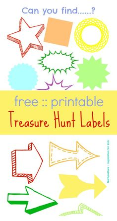 A super set of printable Treasure Hunt Labels - with lots of ideas for clues   NurtureStore :: inspiration for kids