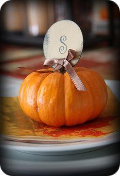 Mini Pumpkin Initial Place Cards