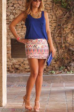 Pretty blue tank and Aztec short skirt