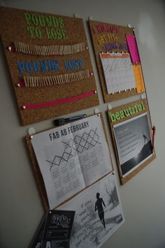 Motivation Board. This is really cool. You have how much weight you have to lose and how much you have lost- without displaying the actual number. You have a meal planning board. A board with a month of workouts and motivational quotes to keep you going. PERFECT!