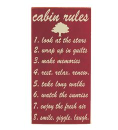 Subway Art Wooden Sign -  Cabin Rules - Typography Word Art -  Primitive Rustic Cabin Lake House Decor -  Your Choice of Color