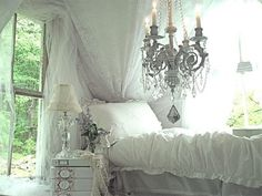 The Romantic Cottage dreamy whites, dreams, shabbi chic, chandeliers, bedroom decorating ideas, bedroom design, white bedrooms, cottages, shabby chic bedrooms