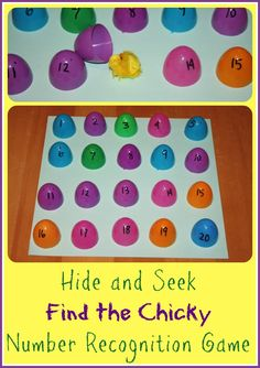Find the Chick Number Recognition Game Activitity.  Also, PERFECT for letter recognition using the alphabet eggs from Walmart!