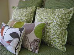"""Sew"" Easy Pillows.  Follow seams of napkin edges to get the edges to poke out."