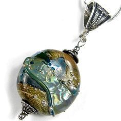 Metallic Green Lampwork Glass Pendant Sterling Silver Large Hole Bail | Covergirlbeads - Jewelry on ArtFire