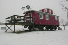 Tiny clever caboose home.  Way cooler than me.  #tinyliving #caboose #trains #clever