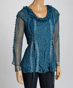 Love this Blue Linen-Blend Scoop Neck Top by Pretty Angel on #zulily! #zulilyfinds