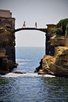 Gaiola Bridge in Naples, Italy.