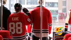 Kaner celebrating St. Patrick (Kane) Day the only way he knows how: posing with mannequins at the Blackhawks Store.