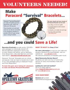 """WANTED: Volunteers to Make Paracord """"Survival""""Bracelets. Learn more here."""