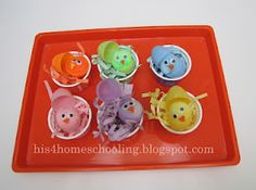 Easter tot trays {H is for Homeschooling}