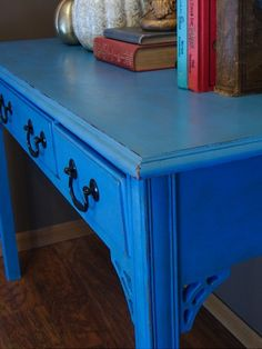 blue chalky painted