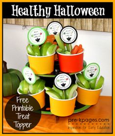 Healthy Halloween Party Treats {Fruit & Veggies} + Free Printable Treat Topper